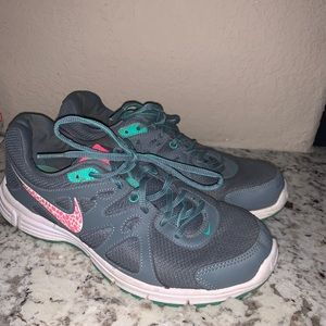 Women's Nike Gray, Teal, and Pink Running Shoes